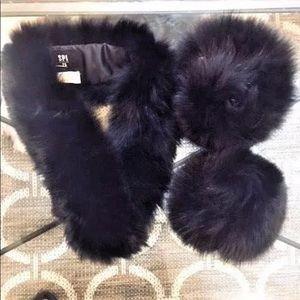 NWOT GENUINE FUR BLACK FOX FUR COLLAR SCARF&CUFF